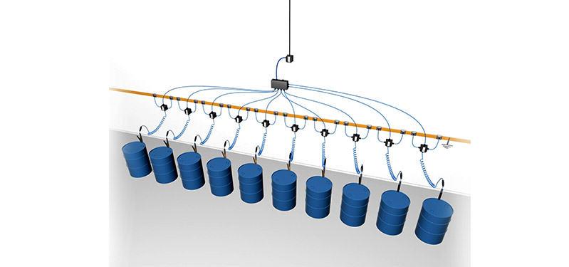 System kontroli uziemienia beczek, zbiorników itp. zasilany z sieci