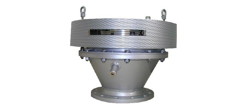 Końcowy przerywacz płomienia deflagracji – wykonanie z jednostką filtra płomienia w postaci krążka zwiniętego z formowanych taśm stalowych