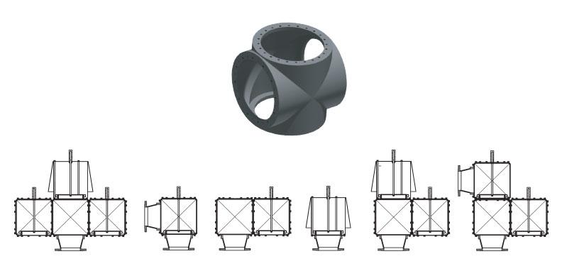 Korpus modułowej struktury zaworów oddechowych i PRZYKŁADOWE kombinacje poszczególnych elementów składowych urządzenia