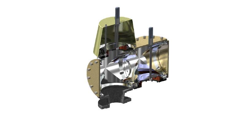 Nadciśnieniowo-podciśnieniowy modułowy zawór oddechowy wprzekroju