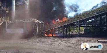 Pożar przenośnika taśmowego transportującego koks