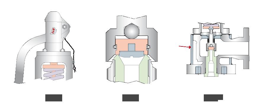 Rys. 8. Kołpak budowy otwartej | Rys. 9. Zawór bezpieczeństwa wyposażony w pierścień O-ring | Rys. 10. Zawór bezpieczeństwa zpłaszczem grzewczym