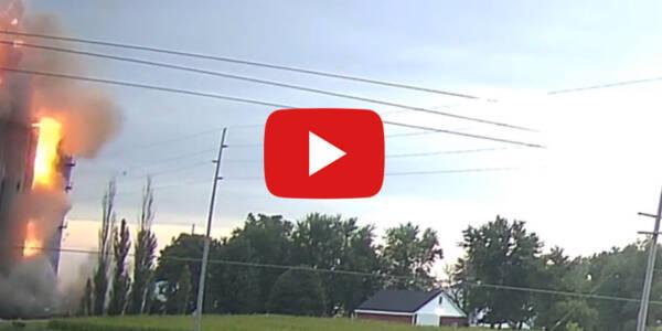 Dwie kamery ujęły wybuch do jakiego doszło w jednym z elewatorów