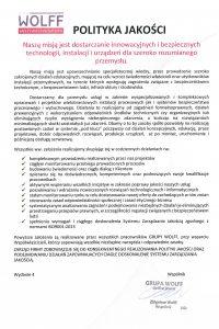 Polityka jakości - ISO 9001:2015
